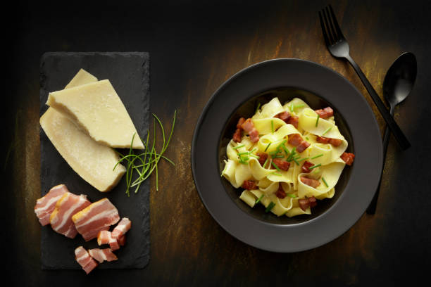 Italian Food: Tagliatelle Carbonara Still Life stock photo