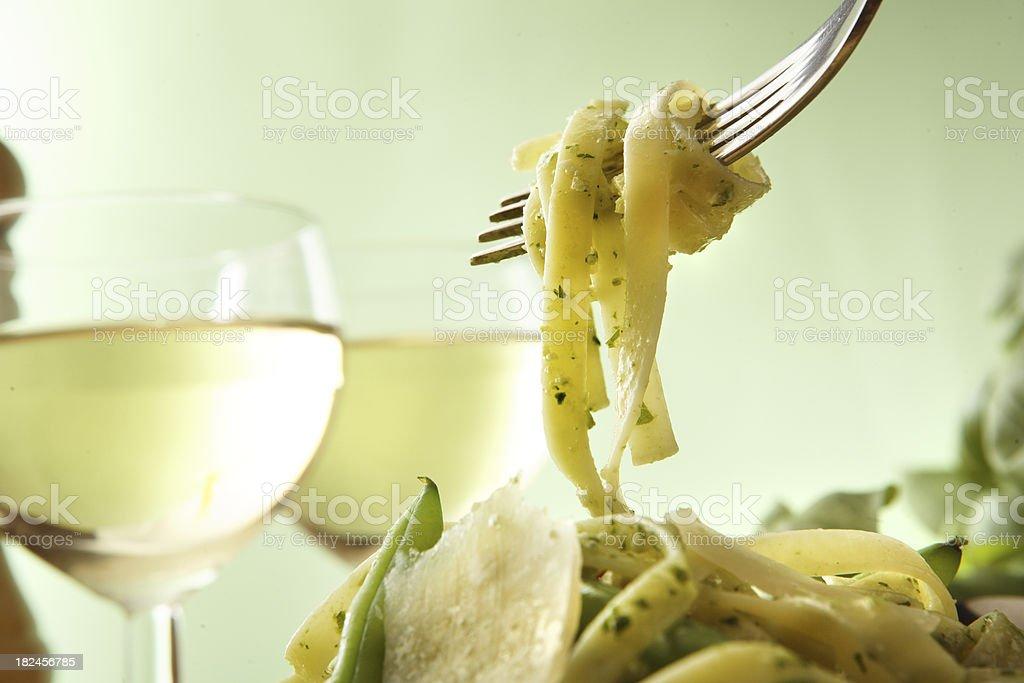 Italian imágenes fijas: Tagliatelle al Pesto foto de stock libre de derechos