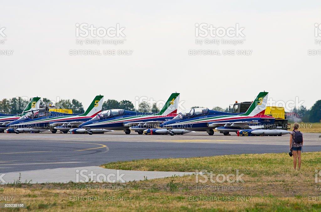 Italian Frecce Tricolori formation on Radom Airshow, Poland stock photo