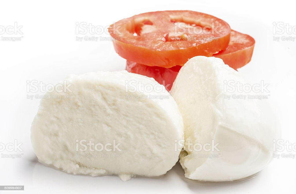 Italian Fresh Mozzarella and sliced tomatoes stock photo