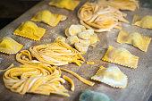 Italian fresh pasta and tortellini ravioli