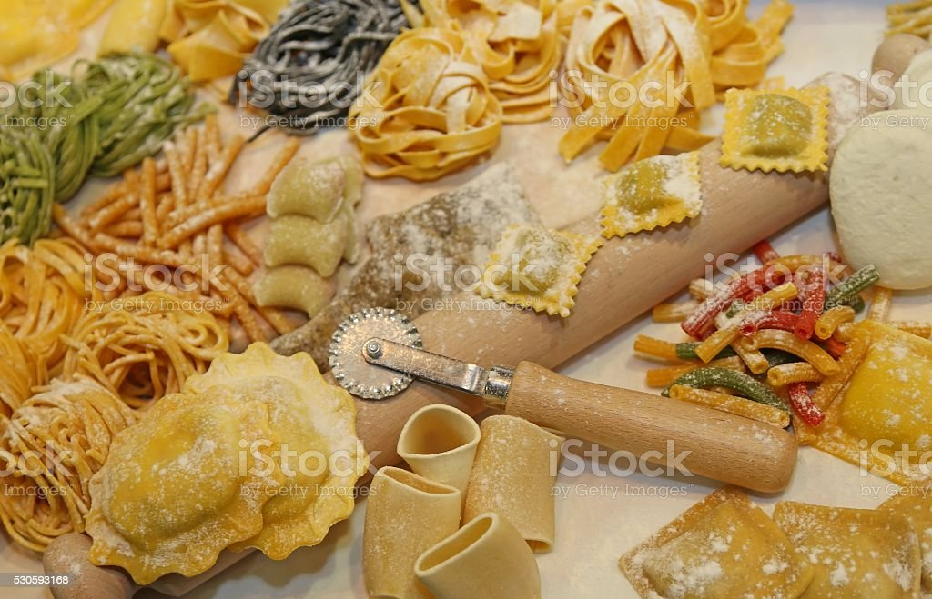 italian fresh pasta made at restaurant stock photo