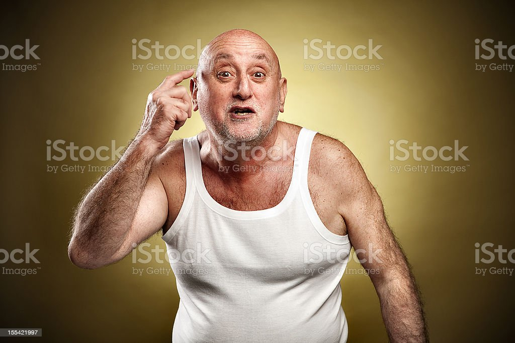 Italian gesture series: 'Are you mad?' royalty-free stock photo