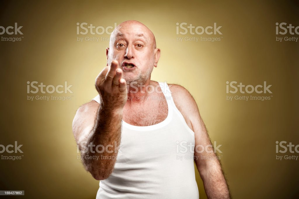 Italian gesture series: 'If I catch you...' royalty-free stock photo