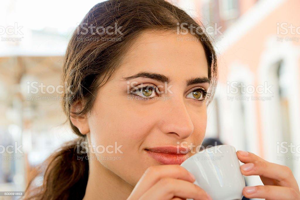 Italian girl drinking coffee royalty-free stock photo