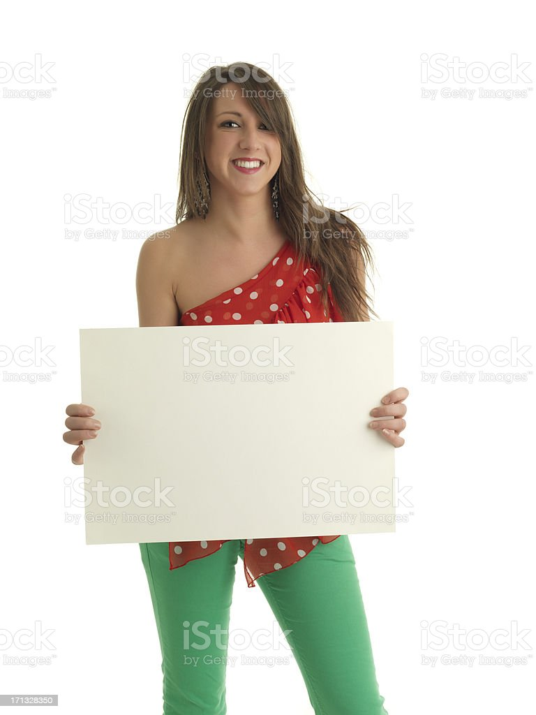 Italian girl with poster stock photo