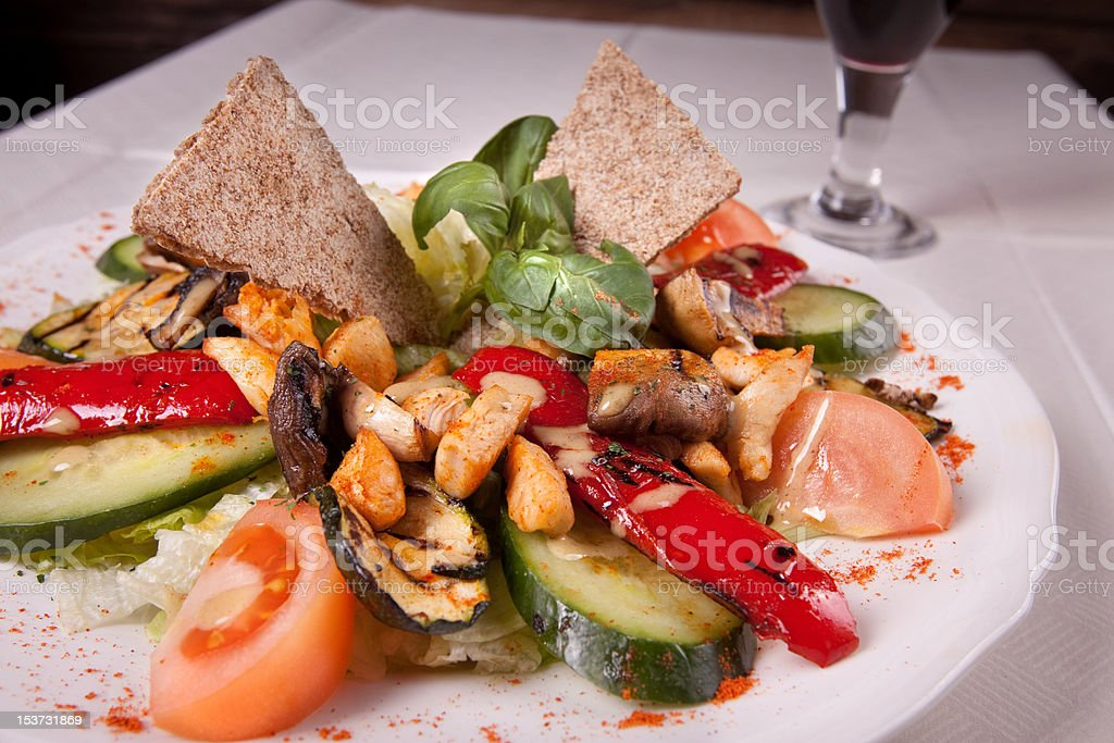 Italian grilled salad with chicken royalty-free stock photo