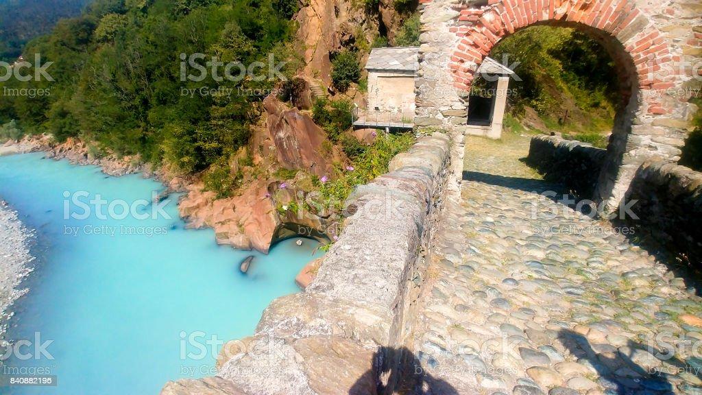 Italian historical bridge Ponte Del Diavolo Lanzo Torinese stock photo