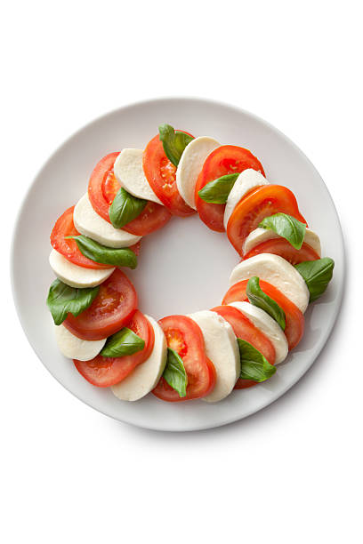 italienische zutaten: caprese-salat - caprese salat stock-fotos und bilder