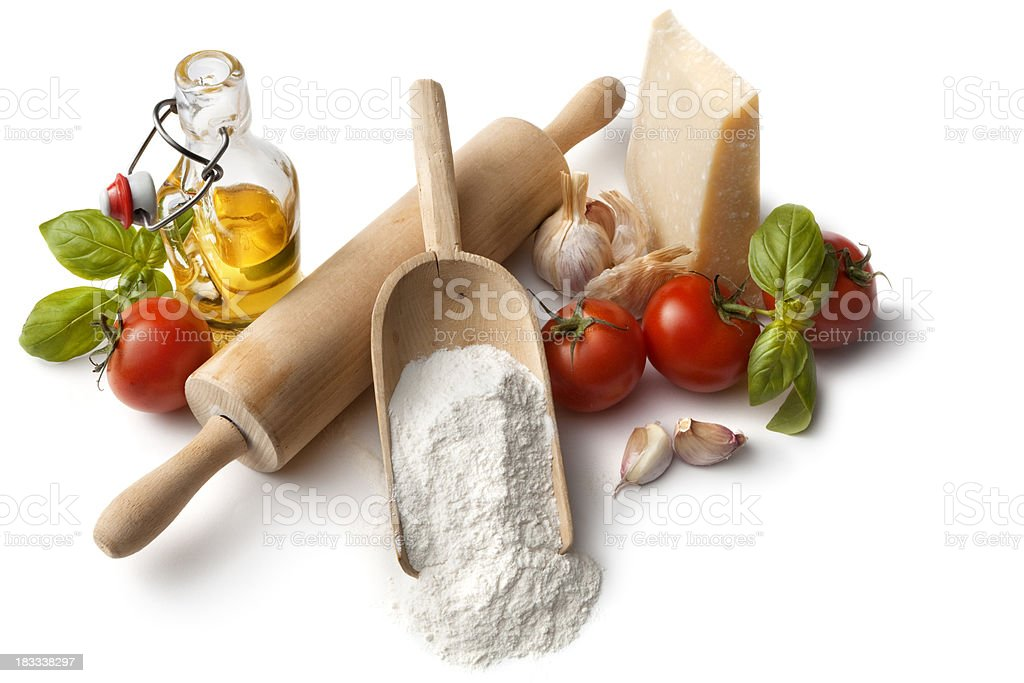 Italian Ingredients: Flour, Tomato, Basil, Garlic, Parmesan and Olive Oil royalty-free stock photo