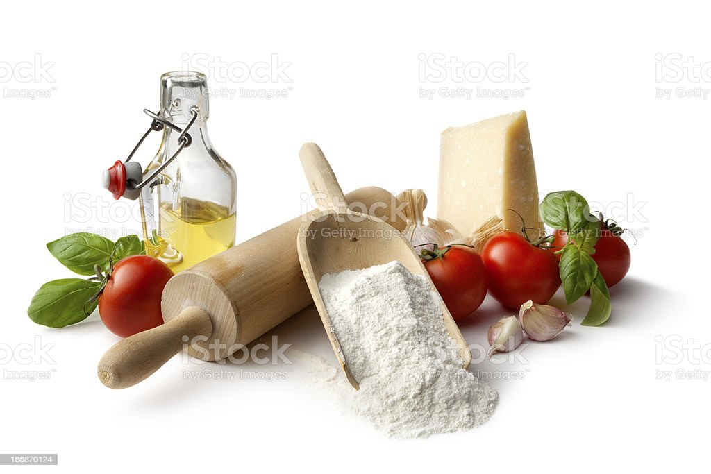 Italian Ingredients: Flour, Tomato, Basil, Garlic, Parmesan and Olive Oil stock photo