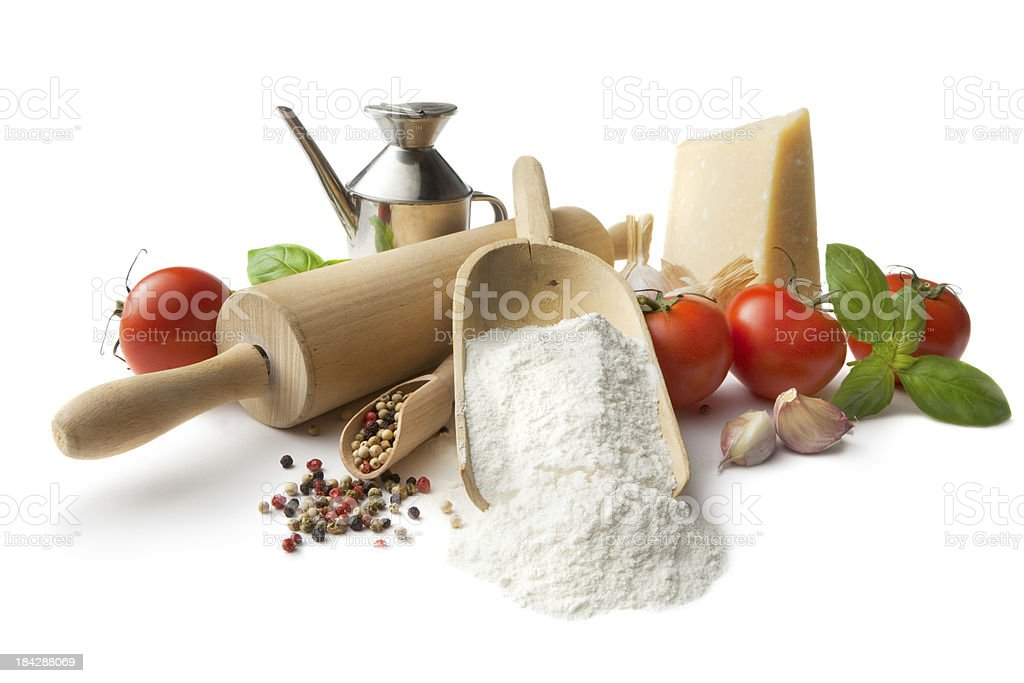 Italian Ingredients: Flour, Tomato, Garlic, Pepper, Parmesan, Basil and OliveOil royalty-free stock photo