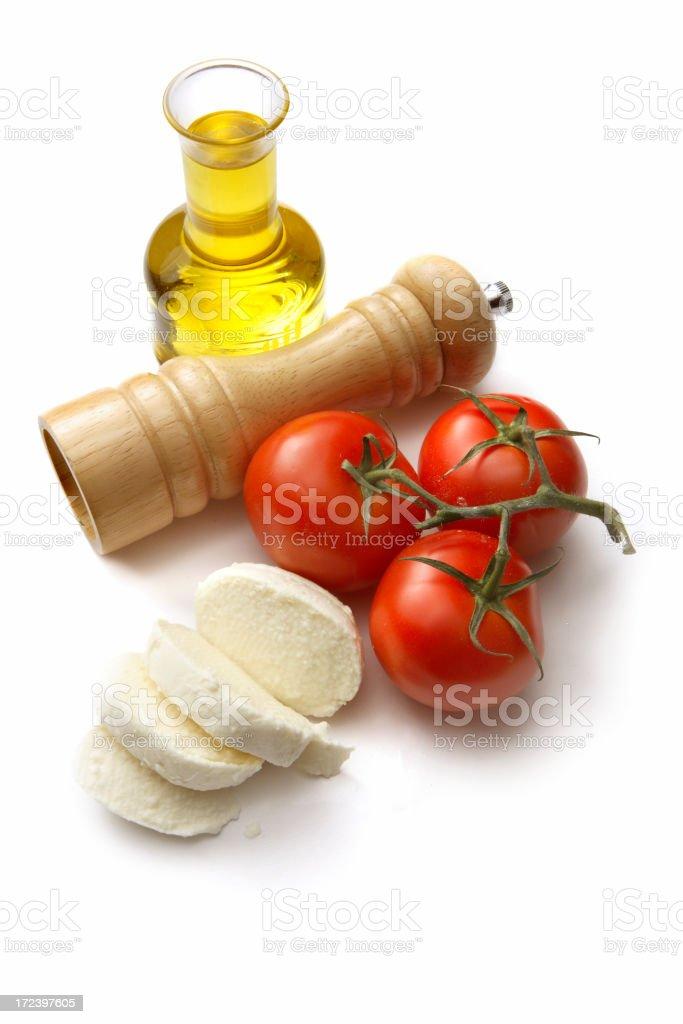Italian Ingredients: Olive Oil, Tomato, Mozzarella and Pepper royalty-free stock photo