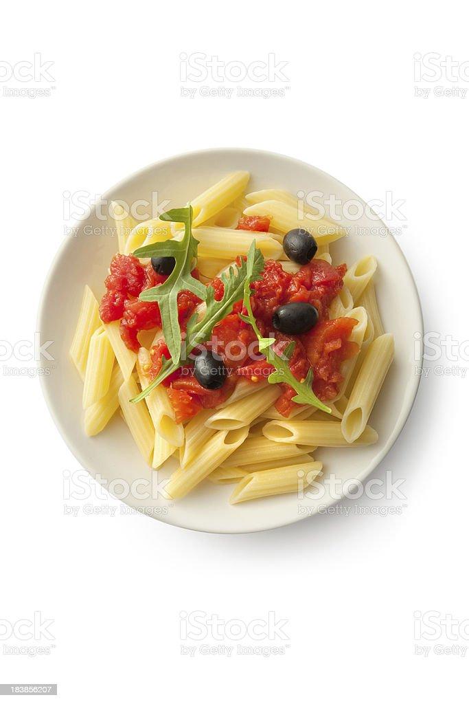 Italian Ingredients: Penne Puttanesca royalty-free stock photo