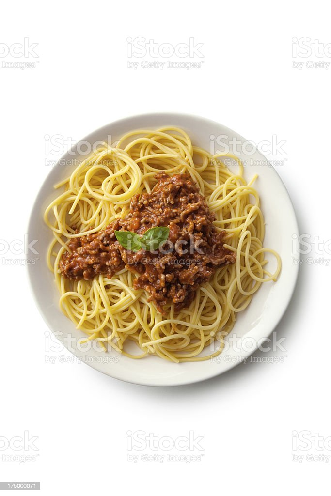 Italian Ingredients: Spaghetti Bolognese stock photo