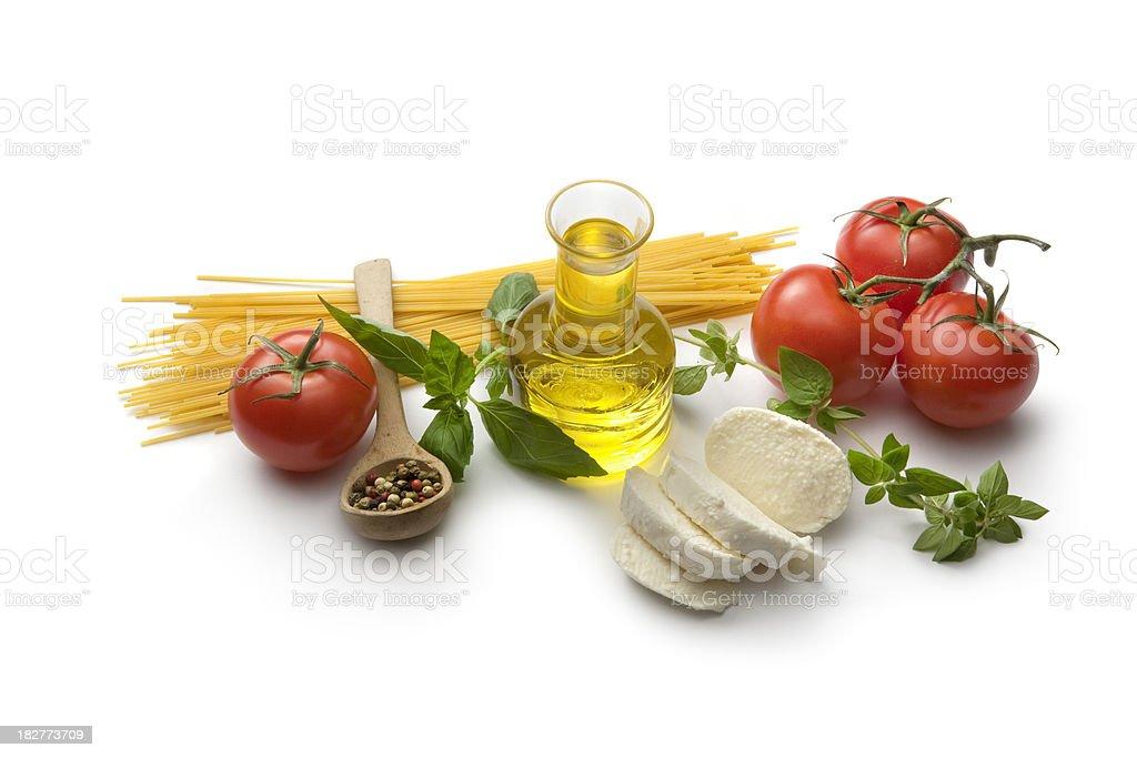 Italian Ingredients: Spaghetti, Tomato, Mozzarella, Olive Oil royalty-free stock photo