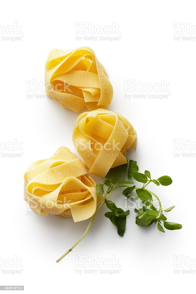 Italian Ingredients: Tagliatelle and Oregano stock photo