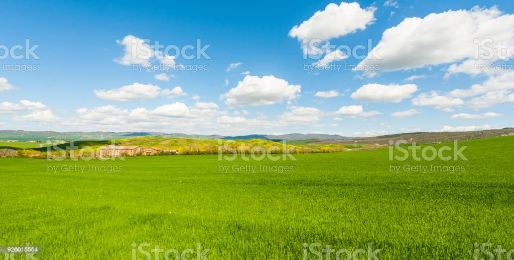 Italian landscape with meadows stock photo