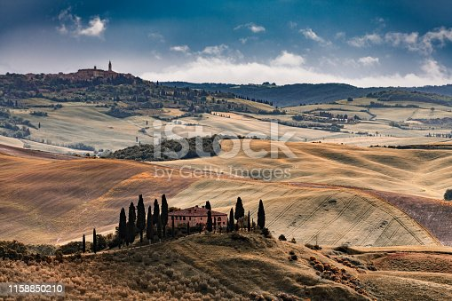 Landscape with the hilltop town of Pienza in Tuscany