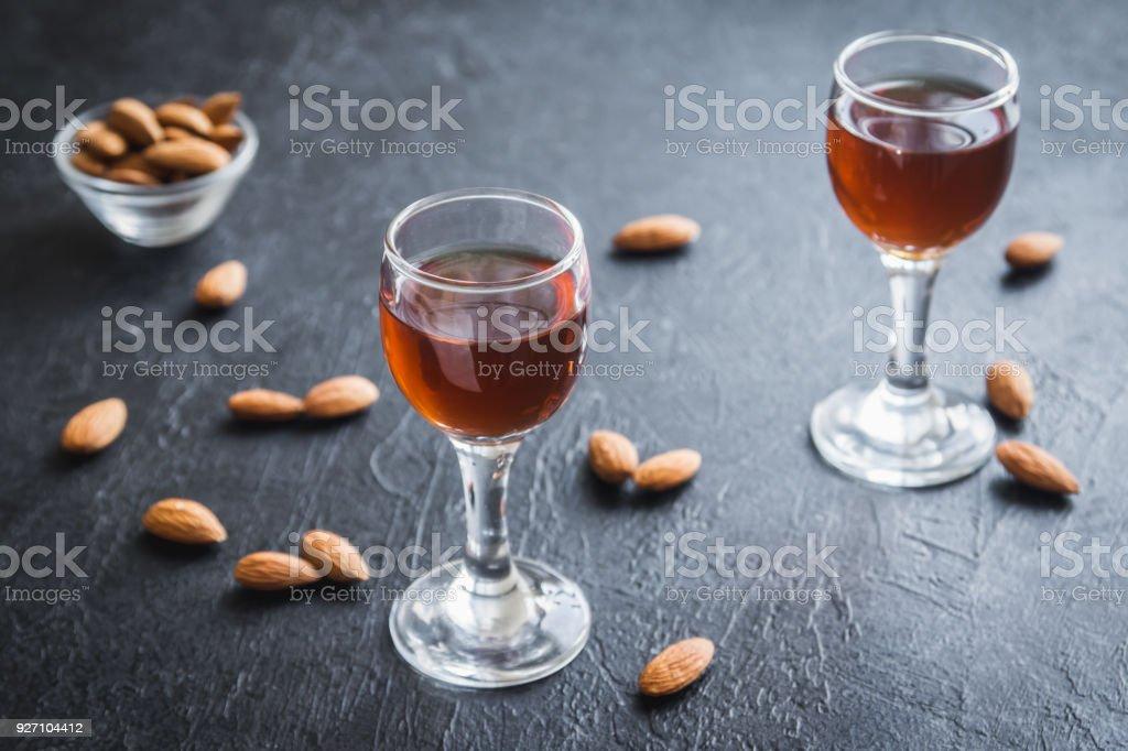 Italian liqueur Amaretto stock photo