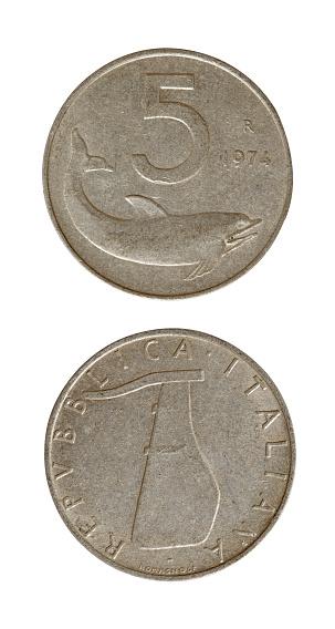 5 Italian lira isolated on white background
