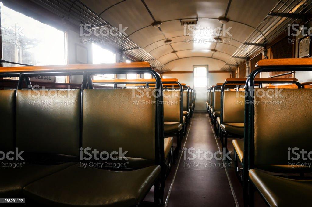 italian littorina train, interior foto de stock royalty-free