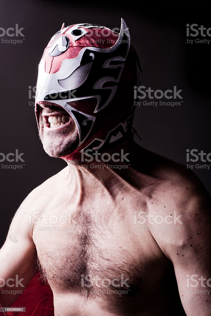 Italian Luchador Grinding His Teeth stock photo