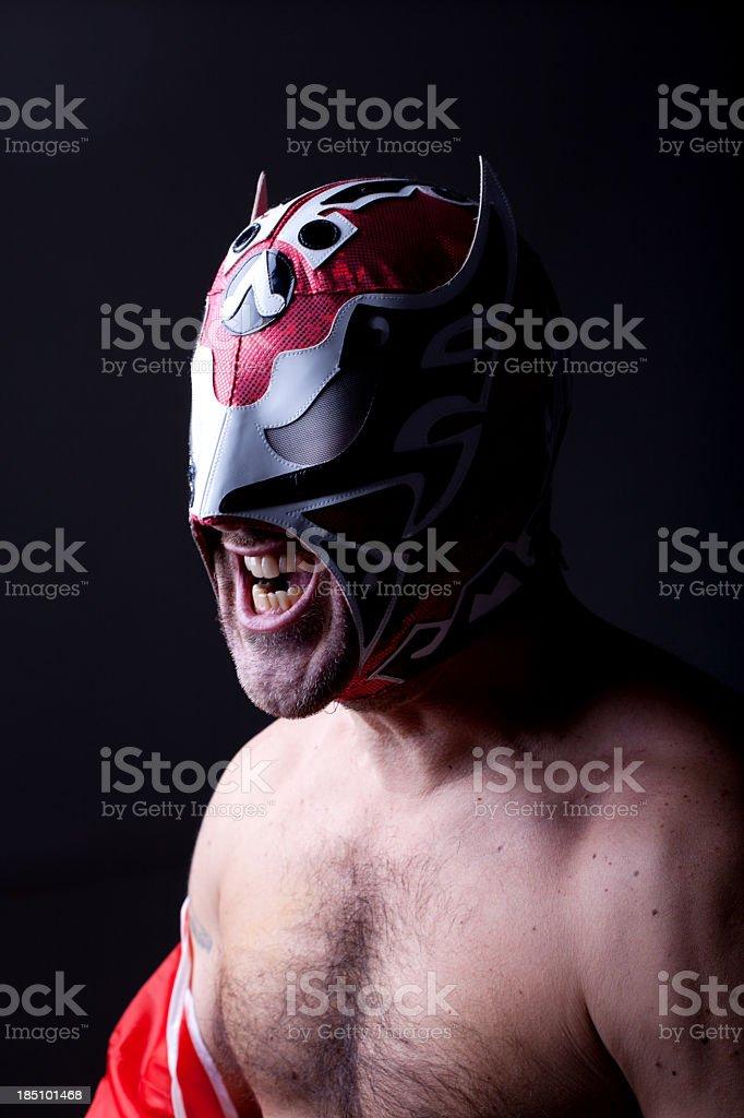 Italian Luchador Roaring stock photo