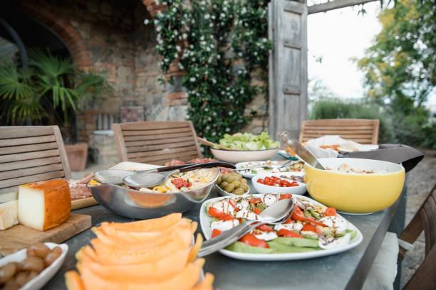 Italian Lunch at the Villa stock photo