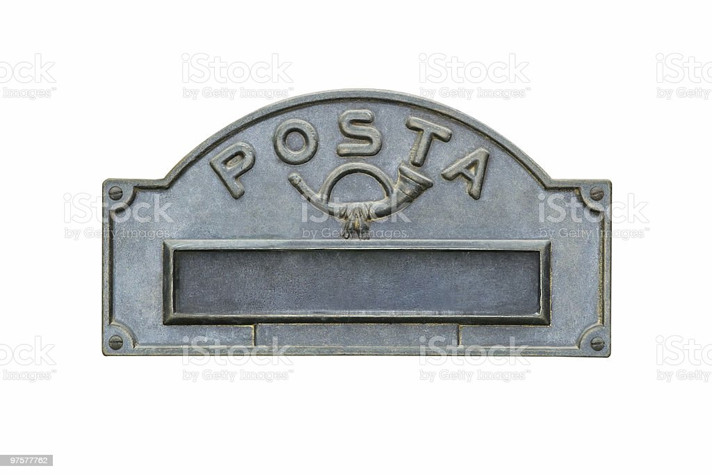 Italian Mailbox Closeup Isolated on White royalty-free stock photo