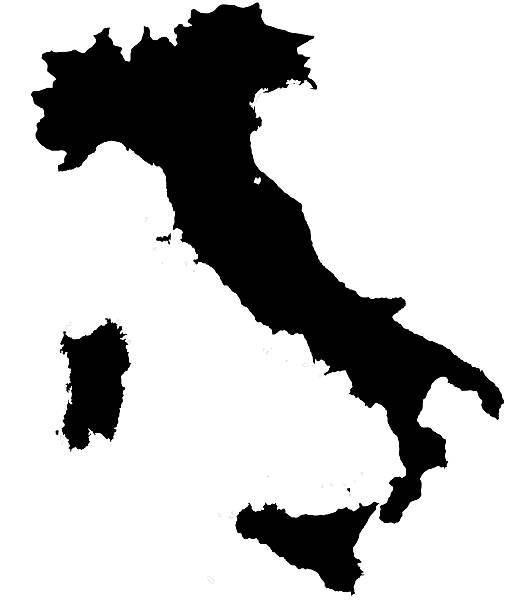italian map silhoette outline borders on white background - italy map stock photos and pictures