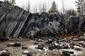 In this part of the quarry Ruskeala marble mining was conducted in an open way, Karelia, Russia