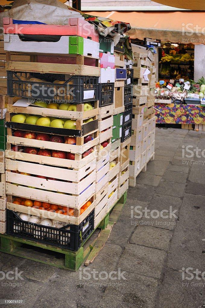 Italian Market Stall Selling Produce in Venice royalty-free stock photo