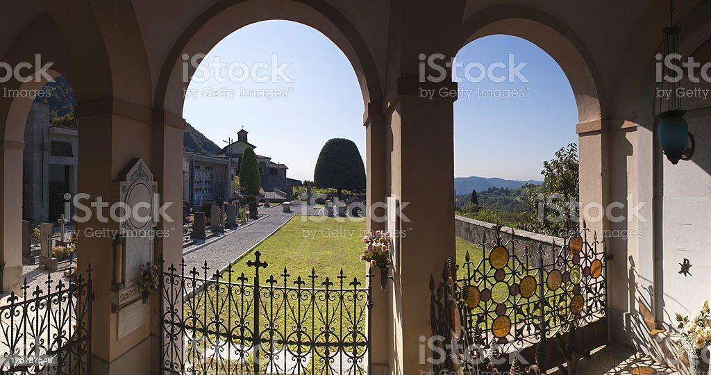 Italian mausoleum and graveyard. stock photo