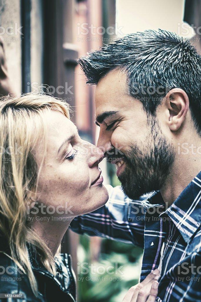 Italian Mid Adults Couple Flirting, Love at 30s stock photo