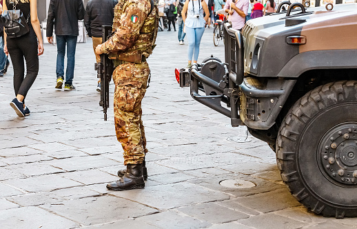 istock italian military police in full uniform and armed at the busy city street 1144969921