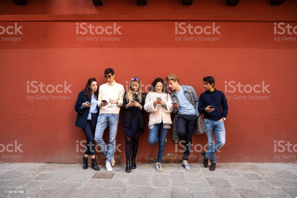 Italian millennials students in Venice - Italy stock photo