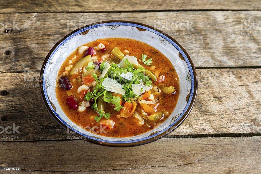 Italian Minestrone & Pasta Soup. stock photo