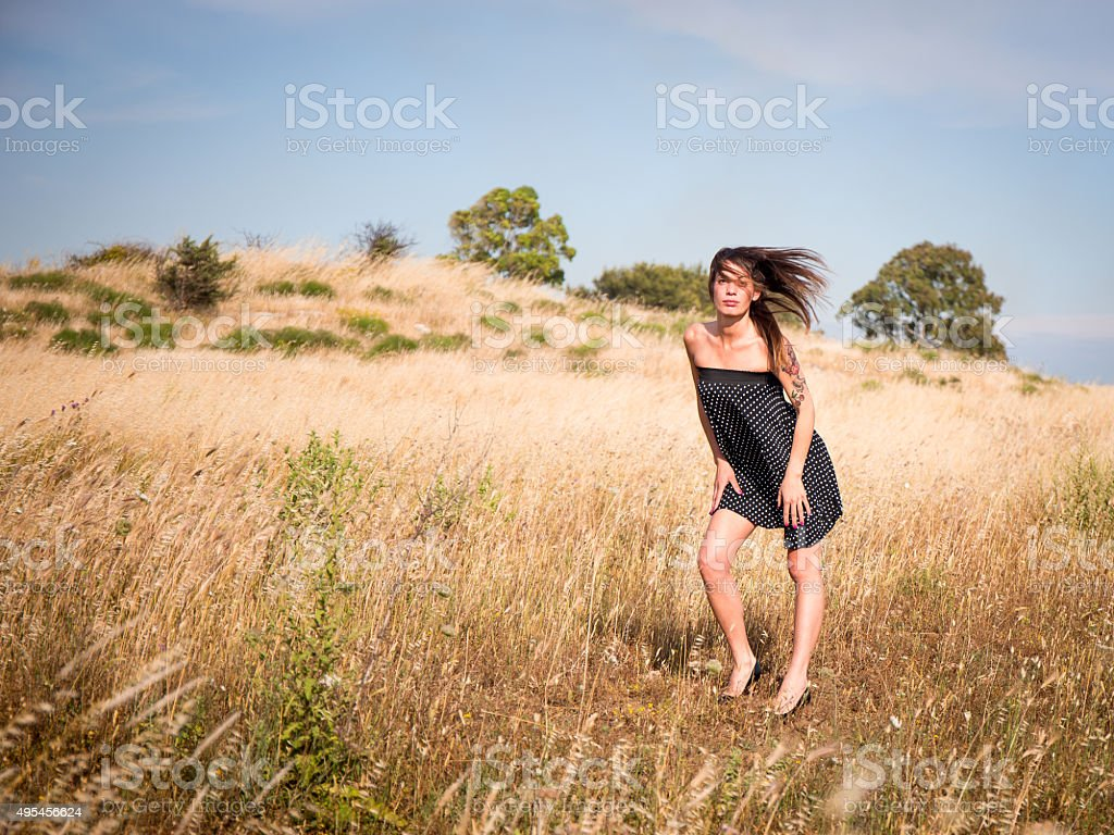 Italian model in countryside stock photo