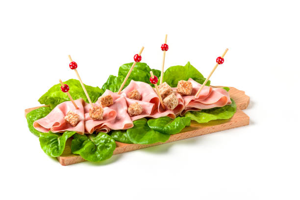 Italian mortadella on cutting board, on a white background - foto stock