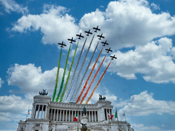 italian national republic day air show aerobatic team frecce tricolore flying over altare della patria in rome, italy - della stock pictures, royalty-free photos & images