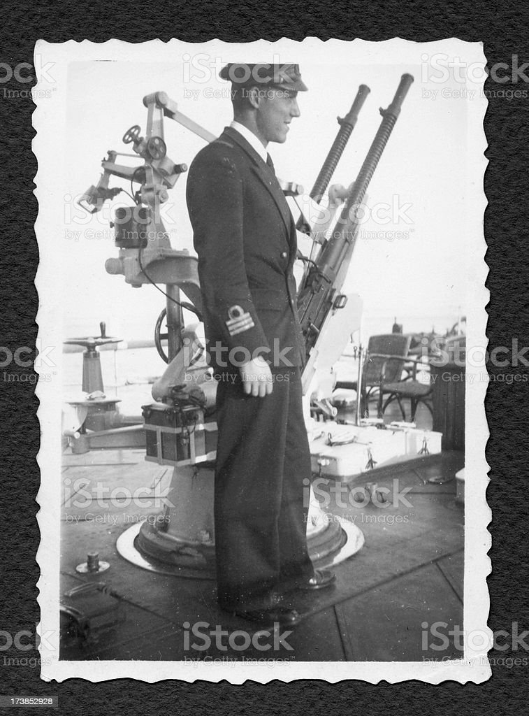 Italian Navy Officer On Warship In 1941.Black And White royalty-free stock photo