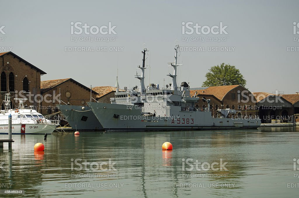 Italian Navy ships, Venice stock photo