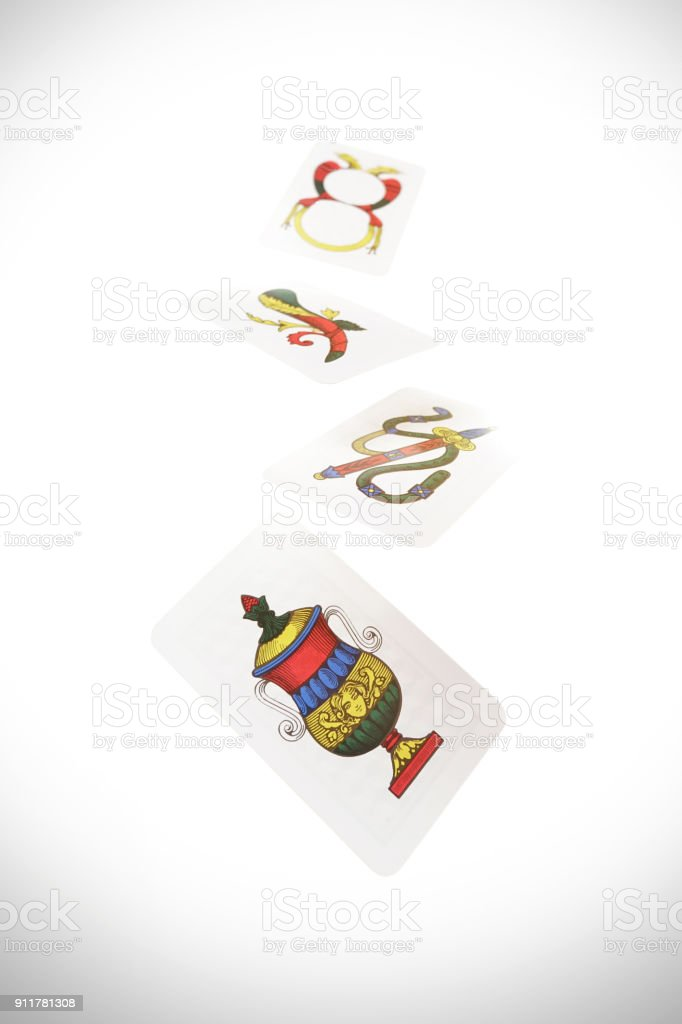Italian Neapolitan playing cards  playing cards Scopa Briscola stock photo