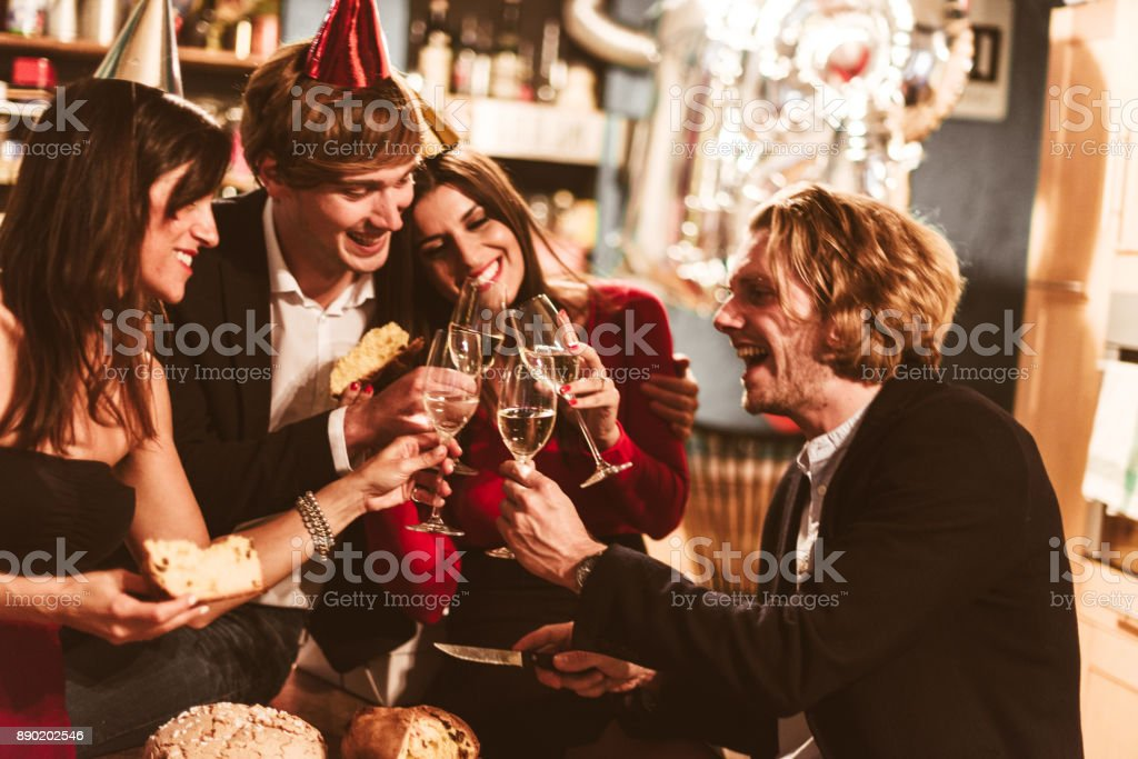 italian new year party stock photo