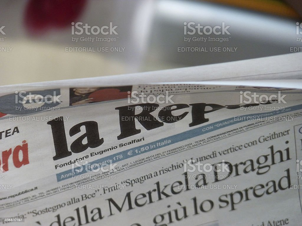 Italian newspaper article about the economic crisis royalty-free stock photo
