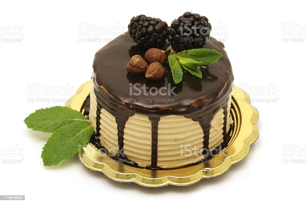 Italian Nutella cake in gold dish on white background royalty-free stock photo