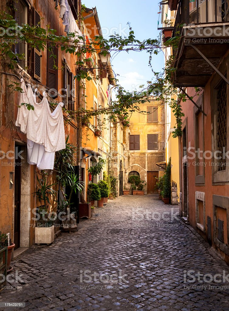 Italian old town (Trastevere in Rome) stock photo