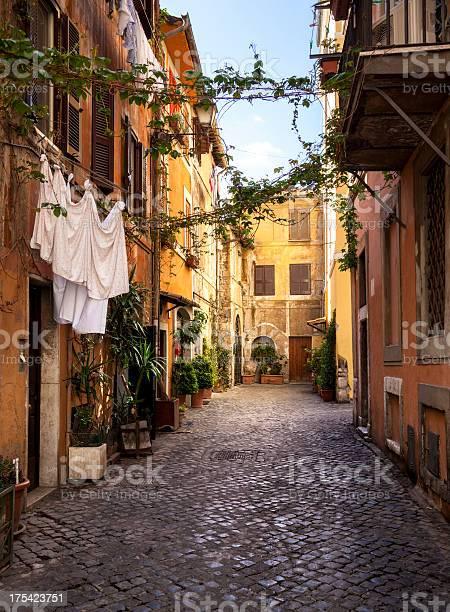 Narrow street in Trastevere district in Rome, Italy.