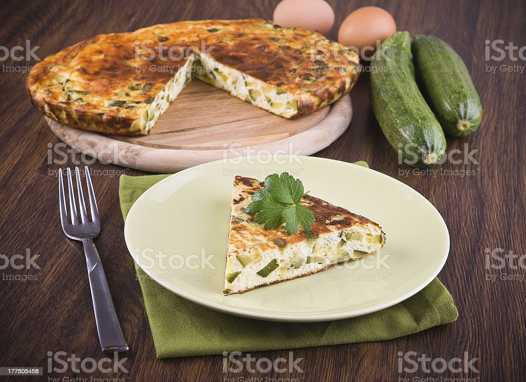 Italian omelette with zucchini. royalty-free stock photo